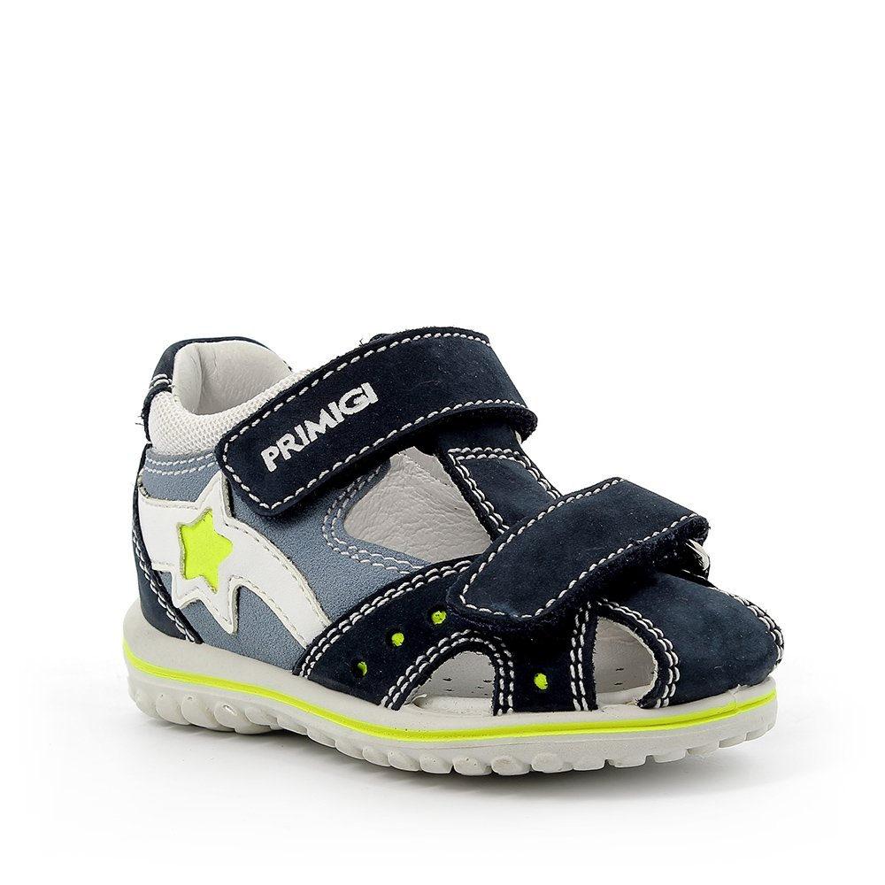 Sandalo in pelle con stella gialla azzurro